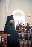 Orthodox liturgy with bishop Mercury in Moscow. MOSCOW - MARCH 13: The bishop stands with a choir at the background during Orthodox liturgy with bishop Mercury Royalty Free Stock Image
