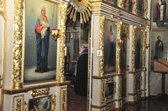 Orthodox Liturgy in the Cathedral of saints Peter and Paul in the city of Gomel (Belarus) on may 28, 2012. Stock Photo