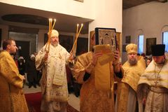 Orthodox Liturgy in the Cathedral of saints Peter and Paul in Gomel (Belarus) is 12 may 2015. Stock Photography