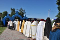 Orthodox Liturgy in the convent of St. John in the village of Korma Feed Dobrush district of Gomel region (Belarus). Royalty Free Stock Images