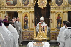 Orthodox Liturgy and procession at St. Nicholas monastery in the city of Gomel (Belarus) on may 2, 2012. Royalty Free Stock Image