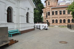 Orthodox Liturgy and procession at St. Nicholas monastery in the city of Gomel (Belarus) on may 2, 2012. Stock Photos