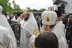 Orthodox Liturgy and procession at St. Nicholas monastery in the city of Gomel (Belarus) on may 2, 2012. Stock Images