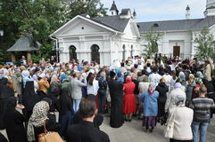 Orthodox Liturgy and procession at St. Nicholas monastery in the city of Gomel (Belarus) on may 2, 2012. Royalty Free Stock Photography