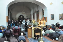 Orthodox Liturgy and procession at St. Nicholas monastery in the city of Gomel (Belarus) on may 2, 2012. Stock Image