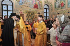 Orthodox Liturgy in the Russian Orthodox Church (Gomel, Belarus, on 8 December 2012). Royalty Free Stock Photos