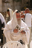Orthodox man prayers at Western wall of Jerusalem Royalty Free Stock Photography