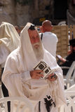 Orthodox man prayers at Western wall of Jerusalem Royalty Free Stock Photos