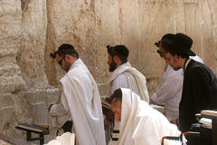 Orthodox man prayers at Western wall of Jerusalem Stock Photo