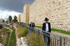 Orthodox men walking in Jerusalem Old city Royalty Free Stock Photography