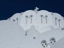 Orthodox Metropolitan Cathedral In Fira Santorini Greece. With wispy clouds Stock Photos