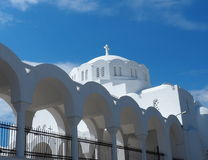 Orthodox Metropolitan Cathedral In Fira Santorini Greece. With wispy clouds Stock Images