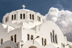 Fira Orthodox Metropolitan cathedral 04. The Orthodox Metropolitan cathedral situated in the capital town of fira on the greek island of santorini Royalty Free Stock Photography