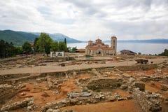 Orthodox monastery. A view of an orthodox monastery St. Pantelejmon - Plaosnik in Ohrid, Macedonia Royalty Free Stock Image