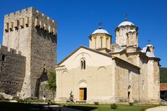 The orthodox monastery Manasija in Serbia. Manasija, also known as Resava, founded by Despot Stefan Lazarevich in 1418. The church is dedicated to the Holy royalty free stock images