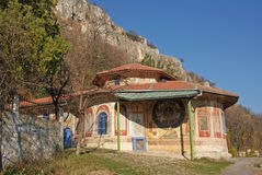 Orthodox monastery on mountain top stock photos