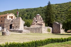 The orthodox monastery Ravanica in Serbia. The monastery was built in the 14th century. The church is dedicated to the Ascension of Jesus royalty free stock photo