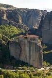 Orthodox Monastery of Rousanou in Meteora, Thessaly, Greece. Amazing view of orthodox Monastery of Rousanou in Meteora, Thessaly, Greece stock photo