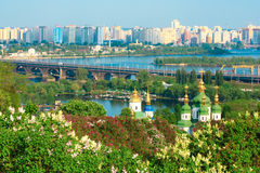 Orthodox monastry and the view of modern Kiev city Royalty Free Stock Image