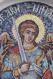 Orthodox mosaic icon. Detail of christian orthodox mosaic icon on the outside wall of a church in Bucharest, Romania Stock Photography