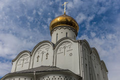 Orthodox in Moscow under white clouds and deep blue sky - 1 Royalty Free Stock Image