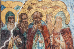 Orthodox Mural painting. Fragment of the Christian mural painting in Thikhvin monastery, Russia Stock Images