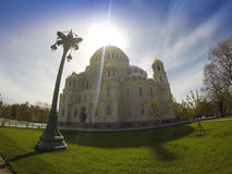 Orthodox Naval cathedral of St. Nicholas in Kronshtadt, Saint-petersburg Russia Stock Photography