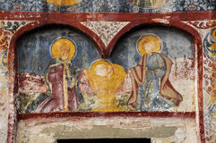 Orthodox painted murals on a church, Romania Stock Images