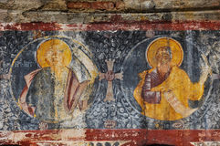 Orthodox painted murals on a church, Romania Stock Photo