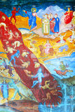 Orthodox painted wall of Sambata Monastery Stock Image