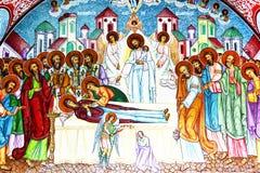 Orthodox painted wall of Sambata Monastery Stock Photos