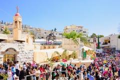 Orthodox Palm Sunday in Nazareth Stock Image