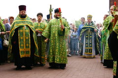 Orthodox people celebrate a Pentecost Stock Image