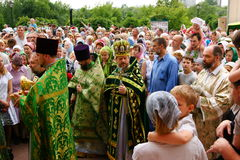 Orthodox people celebrate a Pentecost Stock Images