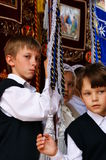 Orthodox people celebrate a Pentecost Royalty Free Stock Images