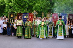 Orthodox people celebrate a Pentecost Royalty Free Stock Photos