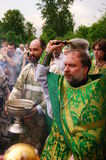 Orthodox people celebrate a Pentecost Royalty Free Stock Image