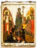 Orthodox pictogram De Afdaling binnen aan Hel, 14de eeuw stock fotografie