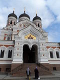 Orthodox prayers in front of a cathedral, Tallinn. Stock Image