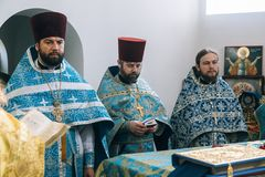 Orthodox priest in altar Royalty Free Stock Photography