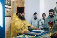 Orthodox priest in altar Royalty Free Stock Photos