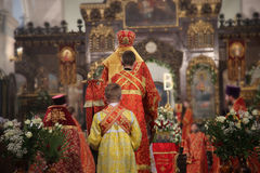 Orthodox priest of the church Stock Images