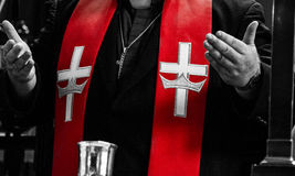 Orthodox Priest and Red Stole details Stock Photos