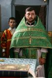 Orthodox priest and sexton Royalty Free Stock Images