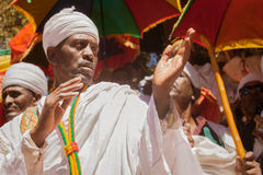 Orthodox priest during Timkat festival at Lalibela in Ethiopia Stock Image