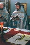 Orthodox priest. VOYUTYN, UKRAINE - 14 OCTOBER 2008: Orthodox priest during celebration Pokrov stock photography