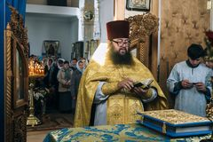 Orthodox priests in altar Royalty Free Stock Photo