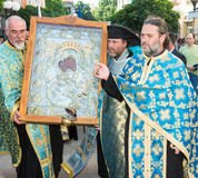 Orthodox priests with the icon of the Theotokos Worthy There are in Pomorie, Bulgaria Stock Images