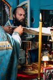 Orthodox priests in local church Royalty Free Stock Images