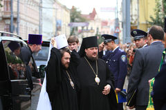 Orthodox Priests and Police. On Visit and worship of the Patriarch of Moscow and All Russia Cyril in the Holy Spirit Cathedral of Chernivtsi, October 1, 2011 Royalty Free Stock Photos